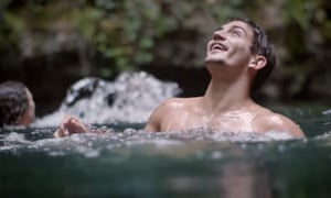 The Hostelworld ad shows people 'tombstoning' – jumping from height into water.