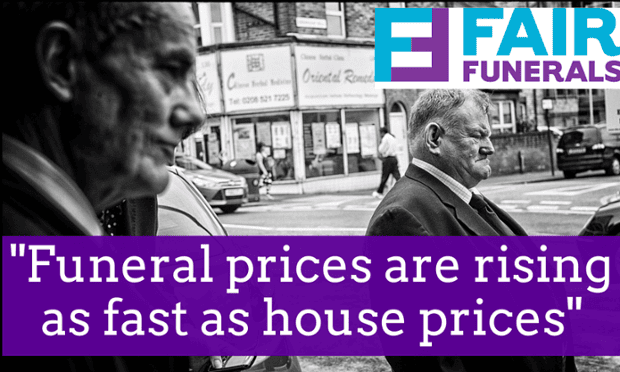 Undertakers underneath a banner which reads 'Funeral prices are rising as fast as house prices'