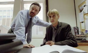 'I often think, if The Office hadn't come along, how much longer would I have stuck at this?': as Gareth Keenan in The Office, with Ricky Gervais.