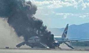 Photograph of British Airways plane on fire at Las Vegas airport in September