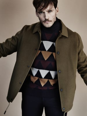 Brown jacket Acne Studios, and diamond-pattern knit Valentino, both from matchesfashion.com Roll-neck johnsmedley.com Trousers Dries Van Noten (selfridges.com)