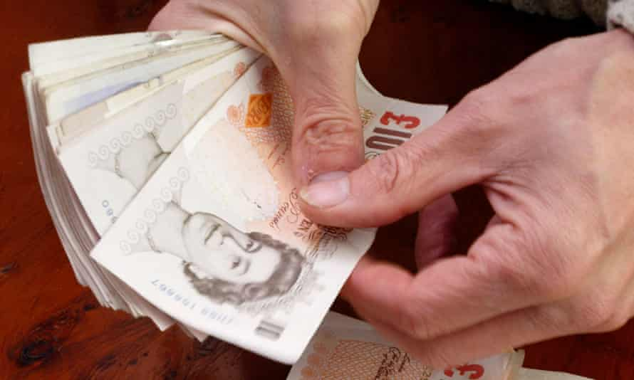 Pound notes being counted