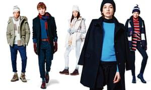Five models wearing Uniqlo's AW15 range