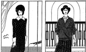 Above left: Navy silk blouse with white collar and cuffs and navy pleated skirt, £299; above right: grey wool blouson jacket and pleated skirt, £269. Illustrations: Peter Clarke for the Guardian.