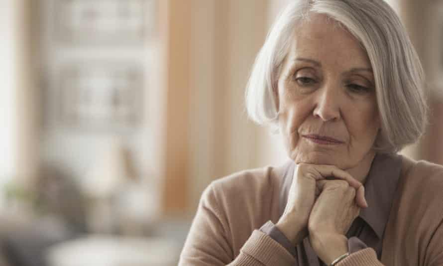 elderly lady looking worried