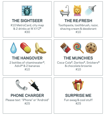 The emoji room service menu.