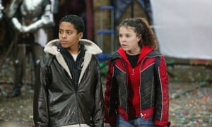 Darragh Mortell as Crash and Dani Harmer as Tracy Beaker in the BBC adaptation Tracy Beaker's Movie of Me, featuring Jacqueline Wilson's creation Tracy Beaker.