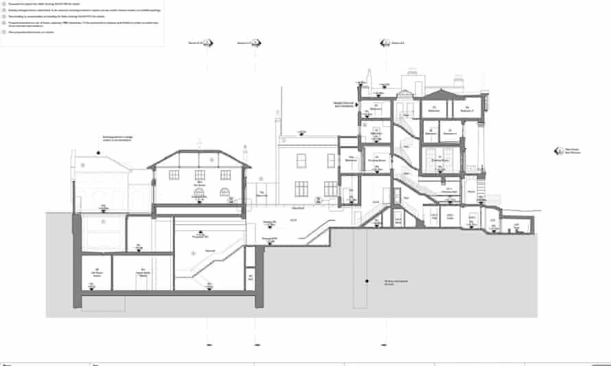 The plans for development works at artist Damien Hirst's house opposite Regent's Park, London.