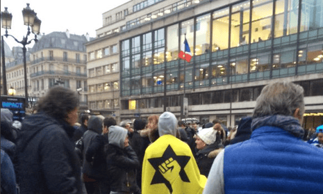 The protest outside AFP's offices in Paris