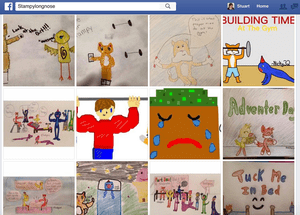 Stampy's Facebook page is used mainly for fan-art – moderated by his mother.