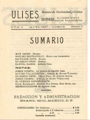 Ulises No.1 (contents page), May 1927.