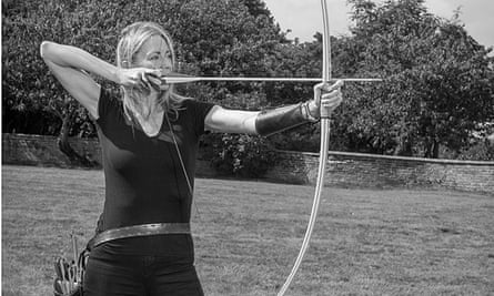 Linda Davies (children's author) and her longbow