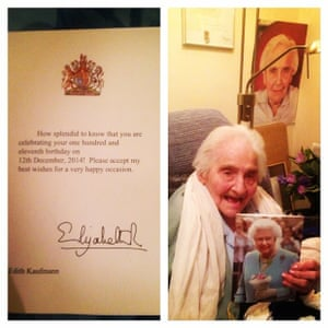 Edith and her 111th birthday card from the Queen