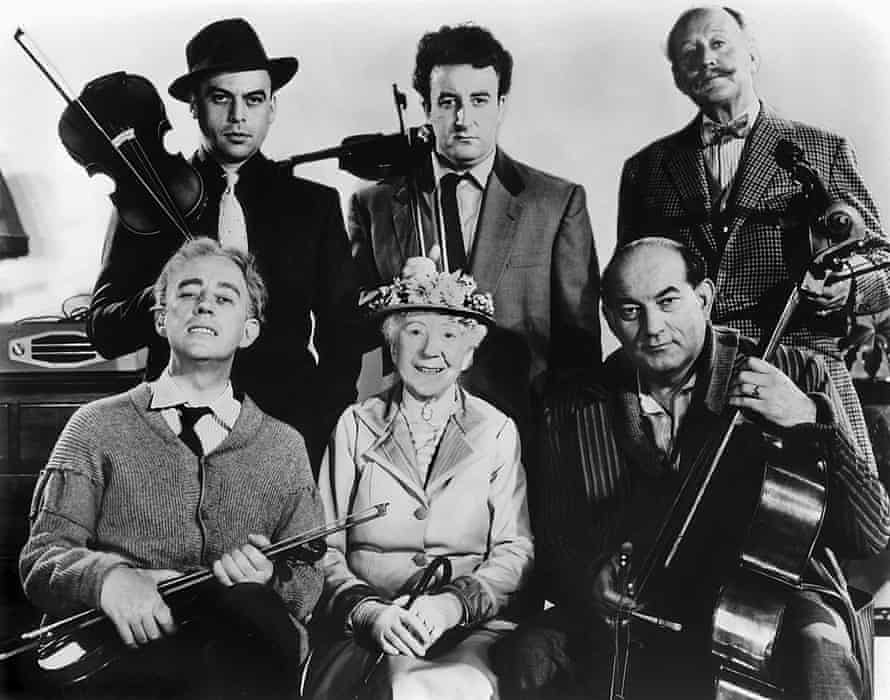The cast of The Ladykillers (clockwise from top left): Herbert Lom, Peter Sellers, Cecil Parker, Danny Green, Katie Johnson and Alec Guinness.