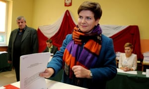 Beata Szydło, the Law and Justice party's candidate to be Polish prime minister, votes on Sunday.