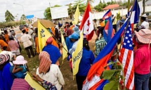 Protest with flags in Cambodia