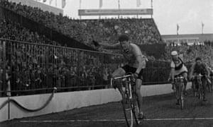 Ian Steel crosses the finish line in Prague, winning the 1952 Peace Race from Warsaw to Prague via Berlin