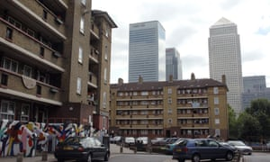 Peabody housing estate just off Poplar high street in East London. Canary Wharf is in the background.