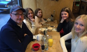 Phillip Huntzinger and his family eat breakfast at Le Pain Quotidien in Greenwich Village.