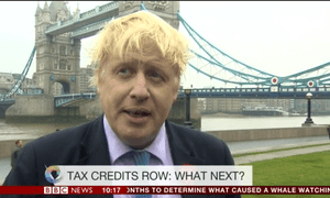 Boris Johnson commenting on the tax credit defeats this morning