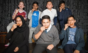 Our panel of experts … back, from left: Jack, 14, Rohan, 13,Nahid, 13, Tanvir, 14; front, from left, Salma, 13, Samid, 14, Mazad, 14.