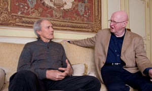 Clint Eastwood and Philip French in conversation at the Ritz Hotel, Paris
