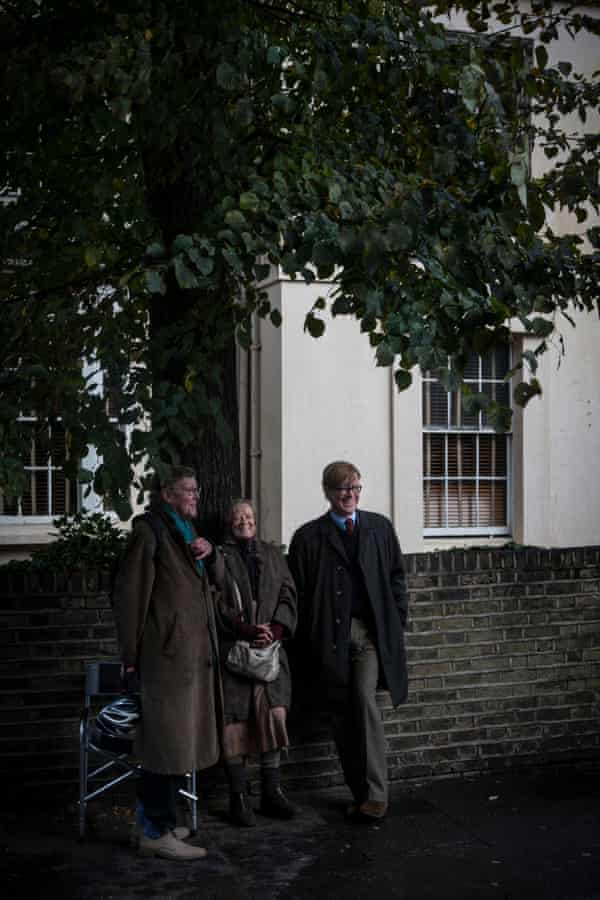 Alan Bennett (left) with Maggie Smith and Alex Jennings, during the filming of The Lady In The Van