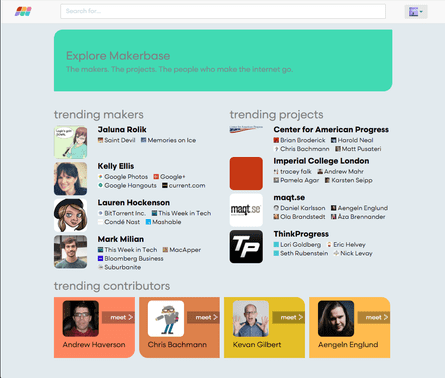 Makerbase has added an 'explore' feature to help surface new projects and profiles