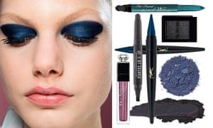 model wearing very dark eyeshadow, plus selection of products