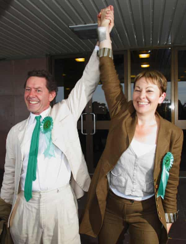 Caroline Lucas celebrates with her husband Richard Savage