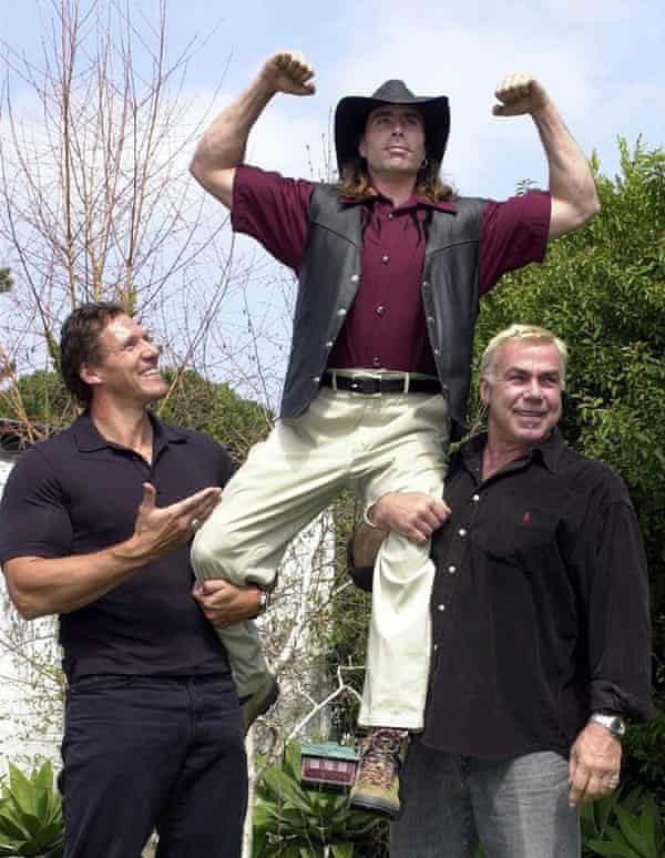 Animal trainer Randy Miller, centre, with Gladiator actors Ralf Moeller and Sven-Ole-Thorsen.