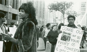 Marsha P Johnson handing out flyers in support of gay students at NYU, 1970
