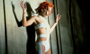 Milla Jovovich wearing Jean-Paul Gaultier's bondage costume in Luc Besson's The Fifth Element, 1997.