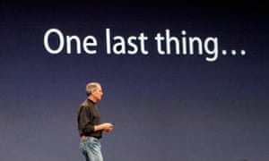 Steve Jobs during one of his showy presentations of new Apple product.