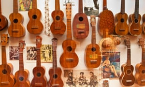 Santa Barbara Surfing Museum's ukulele collection, including one played by Marilyn Monroe in 'Some Like It Hot'.