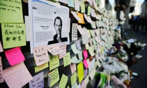 Condolence notes in memory of Steve Jobs at the Apple store on October 6, 2011 in San Francisco, California.