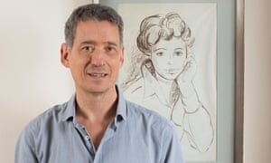 Author Jeremy Gavron beside a portrait of his mother Hannah, who took her own life in 1965.