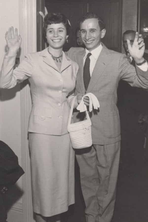 Hannah and Bob Gavron on their wedding day.