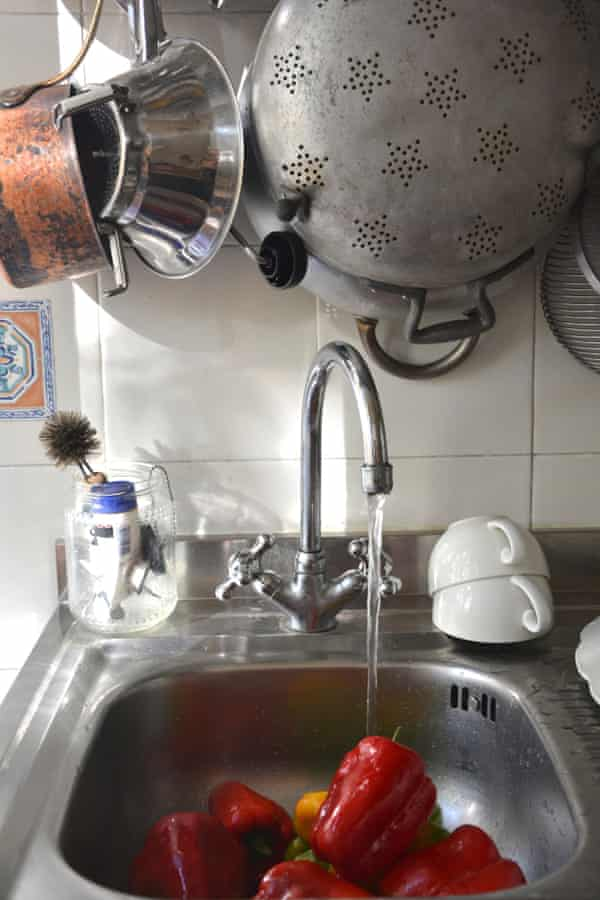 Rachel Roddy' s kitchen sink: 'a place to throw, plonk, photograph, wash, chop and prep'.