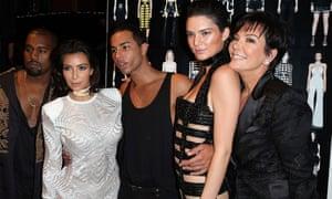 Kanye West, Kim Kardashian, Olivier Rousteing, Kendall Jenner and Kris Jenner pose after a Balmain show at Paris fashion week 2015.