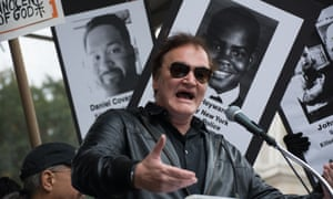 Controversial protest ... Quentin Tarantino at a New York march supporting victims of alleged police brutality on 24 October.
