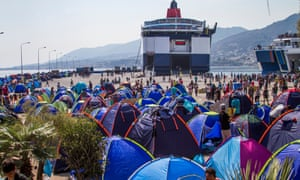 Tents line the main port in Lesbos, as migrants await transfer to the Greek mainland.