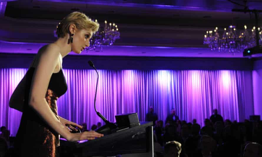Elizabeth Debicki receiving her breakthrough award at the Australians in Film gala