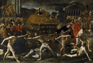 The cremation ceremony of a Roman emperor by Giovanni Lanfranco.