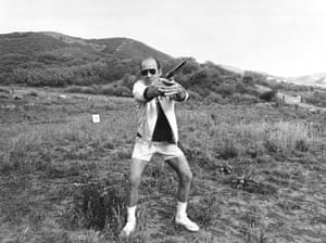 Hunter S Thompson, whose ashes, along with red, white, blue and green fireworks, were fired into the air from a cannon. Photo by Michael Ochs Archives/Getty Images