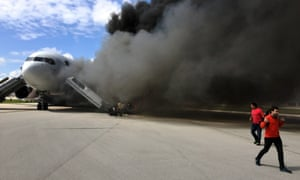 Several people were injured when an airliner caught fire on a runway at Fort Lauderdale in Florida on Thursday