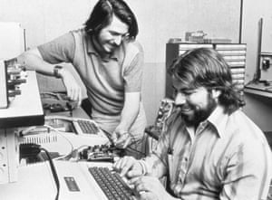 Jobs in his parents' garage with Apple co-founder Steve Wozniak, 1976.