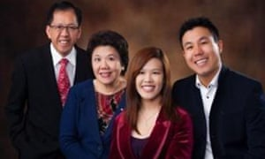 Curtis Cheng, left, who was shot dead outside Parramatta police station in western Sydney on Friday, with his family.