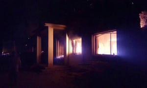 An image from MSF's Twitter feed shows the Kunduz hospital in flames