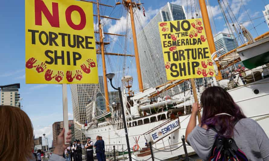 Survivors and relatives of the victims of the dictator Pinochet's regime, demonstrate in London to raise awareness of the ship Esmeralda's role in the detention and torture of opponents during the coup in Chile in 1973.